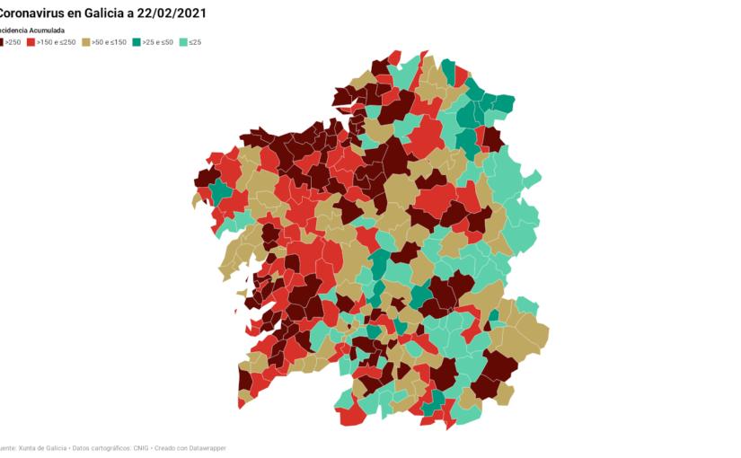 Galicia:  Datos del coronavirus por municipios 22/02/2021